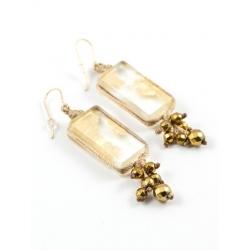 Boucles d'oreilles Perlées Zen beiges feuille d'or