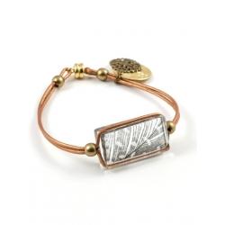 Bracelet Zen cuir bronze plume