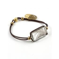 Bracelet Zen cuir chocolat plume