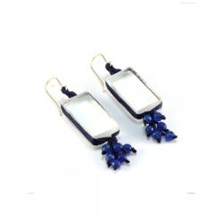 Boucles d'oreilles Perlées Zen bleues
