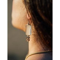 Boucles d'oreilles en verre dépoli et fil de soie