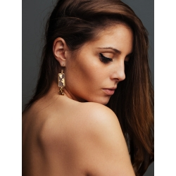 Boucles d'oreilles feuille d'or et fil de soie de Paris