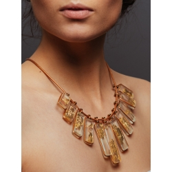 Collier Agamemnon cuir bronze feuille d'or